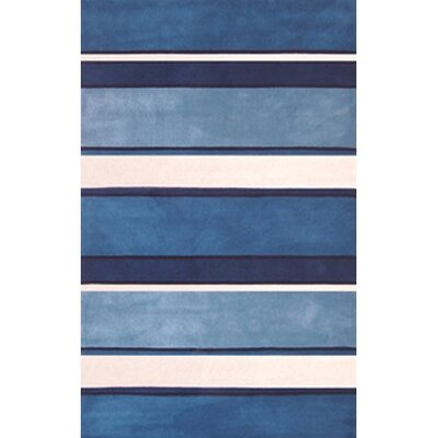 Beach Stripes Hand Tufted Blue/White Area Rug Rug Size: Runner 26 x 10