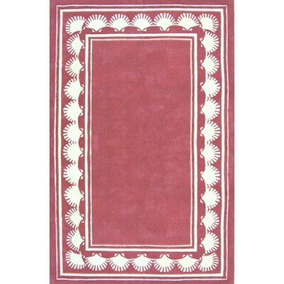 Beach Rug Dusty Rose Shell Border Novelty Rug Rug Size: Round 8'