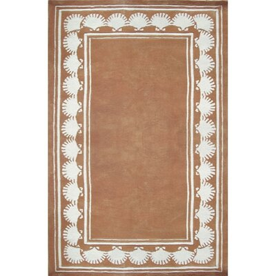 Beach Rug Peach Shell Border Novelty Rug Rug Size: Round 8