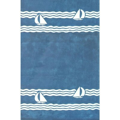 Beach Rug Sailboat Novelty Hand Tufted Blue Area Rug Rug Size: Rectangle 36 x 56