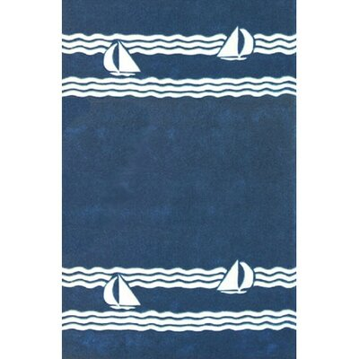 Beach Sailboat Novelty Hand Tufted Navy Area Rug Rug Size: 36 x 56