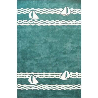 Beach Rug Teal Sailboat Novelty Rug Rug Size: 8 x 11