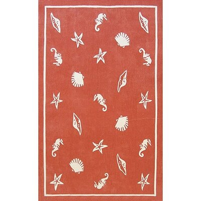 Beach Rug Coral Shells and Seahorses Novelty Rug Rug Size: 8 x 11
