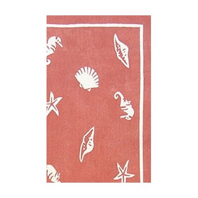 Beach Rug Light Coral Shells and Seahorses Novelty Hand Tufted Coral Area Rug Rug Size: 36 x 56