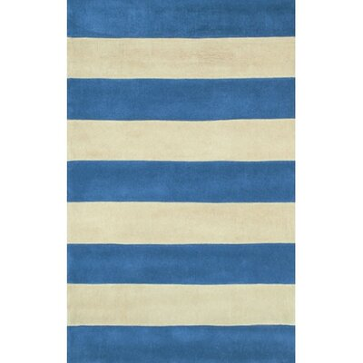 Beach Rug Blue/Ivory Boardwalk Stripes Rug Rug Size: Runner 26 x 8