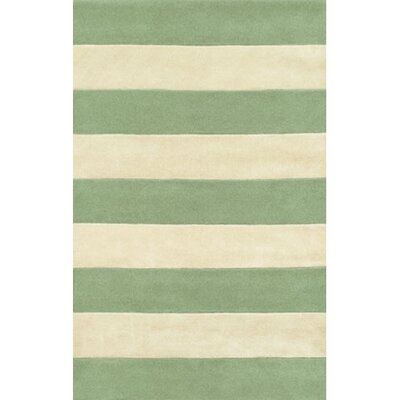 Beach Seafoam/Ivory Boardwalk Stripes Area Rug Rug Size: 36 x 56