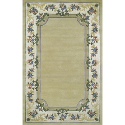 Beautiful Yellow/Ivory Border Pale Floral Border Area Rug Rug Size: 76 x 96