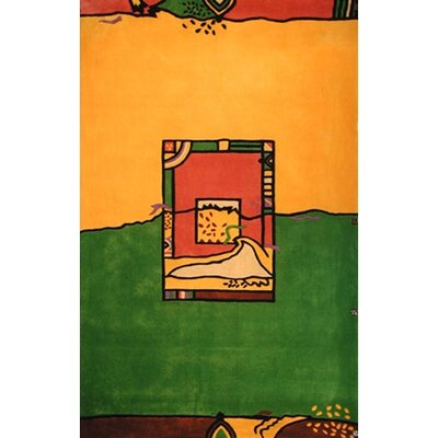 Bright Yellow/Green Fields Area Rug Rug Size: 36 x 56