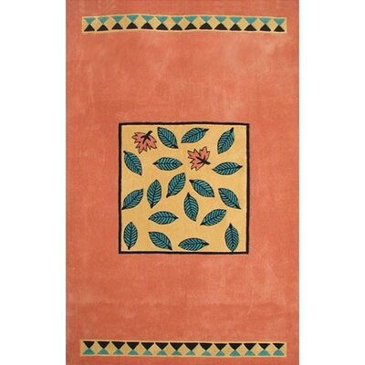 Bright Garden Leaves Peach/Yellow Area Rug Rug Size: 3'6