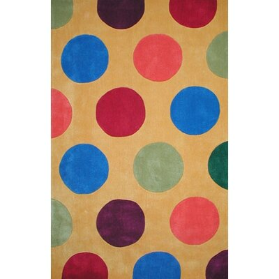 Bright Yellow Dots Area Rug Rug Size: Rectangle 8 x 11