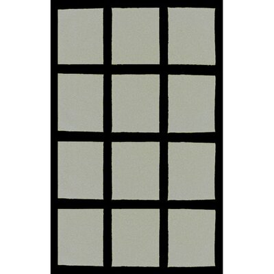 Bright Grey/Black Window Blocks Area Rug Rug Size: 36 x 56