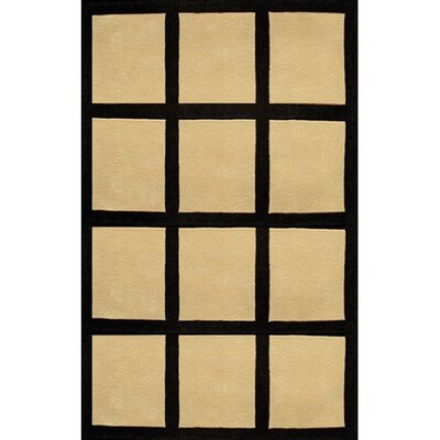 Bright Sand/Black Window Blocks Area Rug Rug Size: 8 x 11