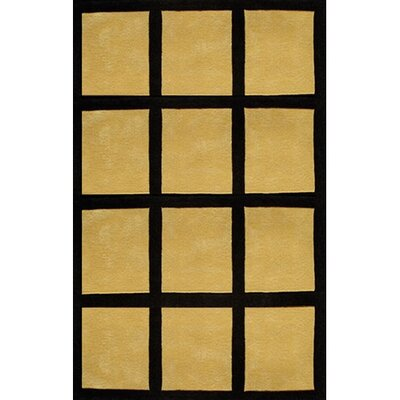 Bright Yellow/Black Window Blocks Area Rug Rug Size: 36 x 56
