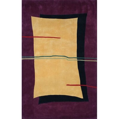 Bright Flash Yellow/Purple Area Rug Rug Size: 36 x 56