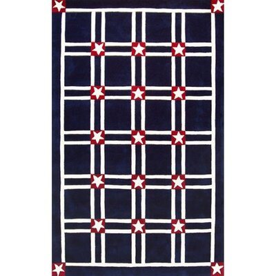 Bright Navy/White Stars and Stripes Area Rug Rug Size: 36 x 56
