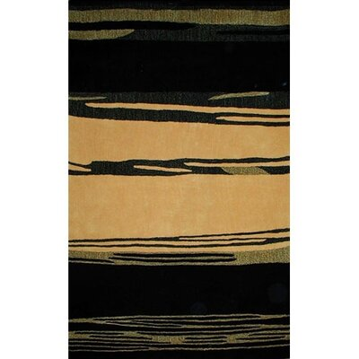 Bright Horizon Yellow/Black Area Rug Rug Size: Round 8