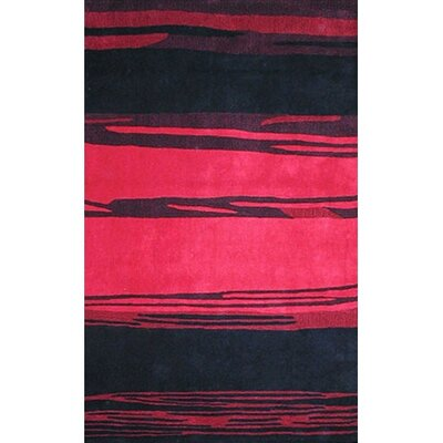 Bright Horizon Pink/Black Area Rug Rug Size: 36 x 56