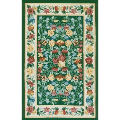 Bucks County Green/Ivory Floral Garden Emerald Area Rug Rug Size: Rectangle 39 x 59