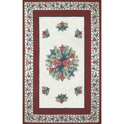 Bucks County Tulip Ivory/Dark Rose Area Rug Rug Size: 76 x 96