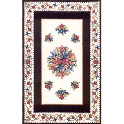 Bucks County Tulip Ivory/Black Area Rug Rug Size: Runner 26 x 6