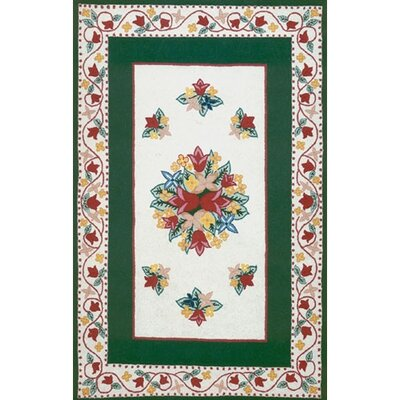 Bucks County Tulip Ivory/Emerald Green Area Rug Rug Size: 76 x 96