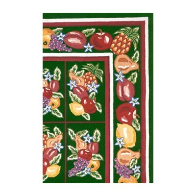 Bucks County Fruit Pettipoint Emerald Green Area Rug Rug Size: 56 x 86