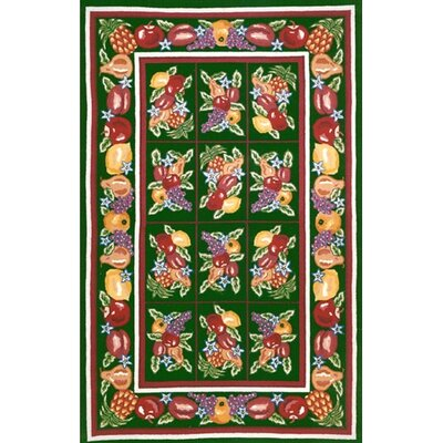Bucks County Fruit Pettipoint Emerald Green Area Rug Rug Size: 2 x 4