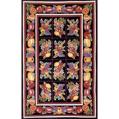 Bucks County Fruit Pettipoint Black Area Rug Rug Size: 76 x 96