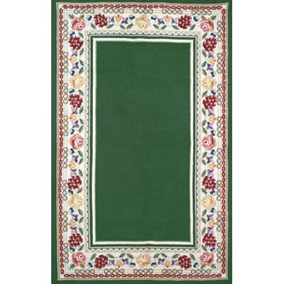 Bucks County Emerald Green/Ivory Border Area Rug Rug Size: 4 x 6