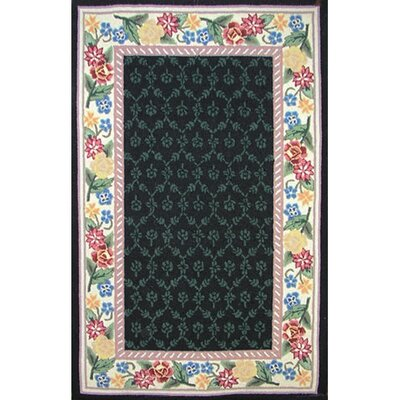 Bucks County Black/Ivory Damask Area Rug Rug Size: 86 x 116