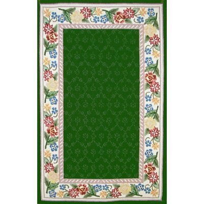 Bucks County Emerald Green/Ivory Damask Area Rug Rug Size: Rectangle 36 x 56