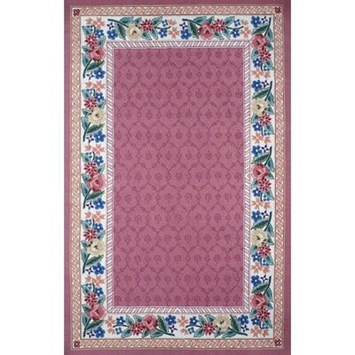 Bucks County Rose/Ivory Damask Area Rug Rug Size: Rectangle 86 x 116