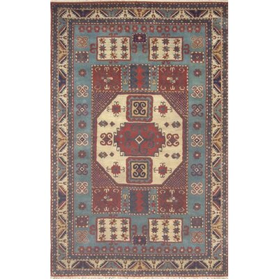 Cactus Ranch Light Blue/Antique Ivory Kazak Area Rug Rug Size: 5 x 8