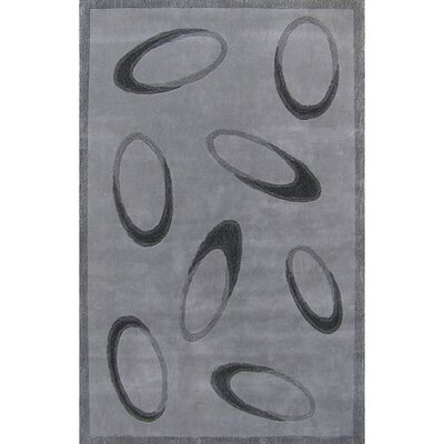 Casual Contemporary Grey / Black Le Cirque Area Rug Rug Size: 36 x 56