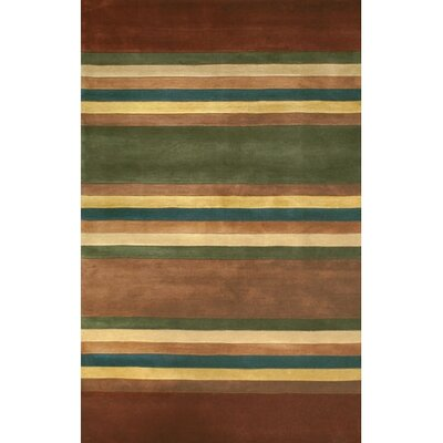 Casual Contemporary Earth Tones Modern Stripes Area Rug Rug Size: Runner 2'6