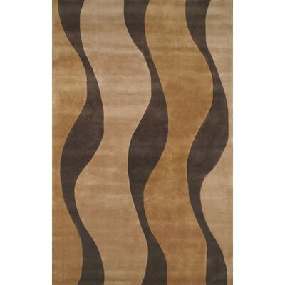 Casual Contemporary Gold / Brown Windsong Area Rug Rug Size: 36 x 56