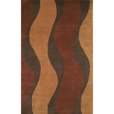 Casual Contemporary Rust / Brown Windsong Area Rug Rug Size: 36 x 56