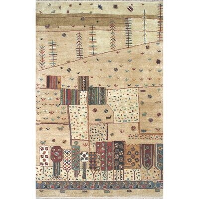 Casual Contemporary Beige Village Life Area Rug Rug Size: 36 x 56