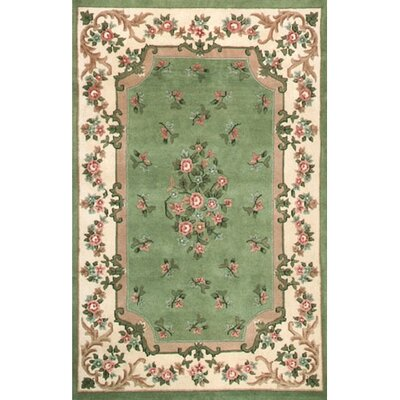 Floral Garden Aubusson Light Green/Ivory Area Rug Rug Size: Round 6