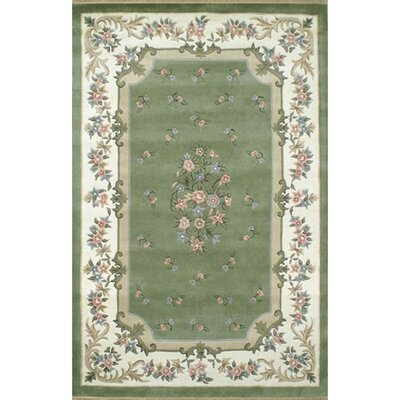 Floral Garden Aubusson Sage/Ivory Area Rug Rug Size: 2 x 3