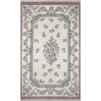 French Country Aubusson Ivory/Rose Floral Area Rug Rug Size: Oval 3 x 5