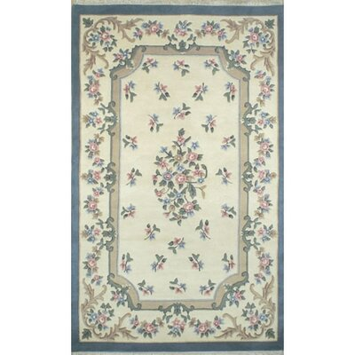 French Country Aubusson Ivory/Blue Area Rug Rug Size: Round 5