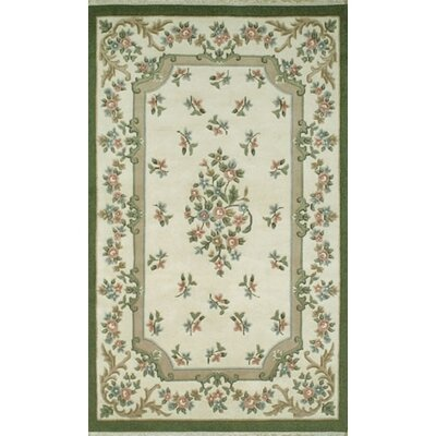 French Country Aubusson Ivory/Emerald Floral Area Rug Rug Size: Round 76