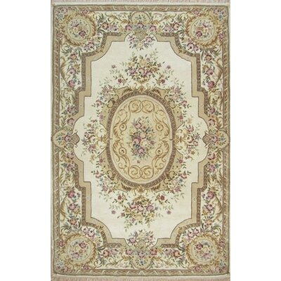 French Elegance Aubusson Floral Hand-Tufted Wool Ivory Area Rug Rug Size: Rectangle 56 x 86