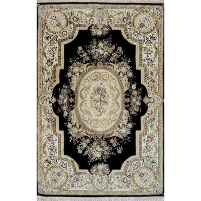 French Elegance Aubusson Oriental Hand-Tufted Wool Black/Ivory Area Rug Rug Size: Round 8