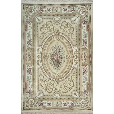 French Elegance Aubusson Floral Hand-Tufted Wool Beige/Ivory Area Rug Rug Size: Rectangle 86 x 116