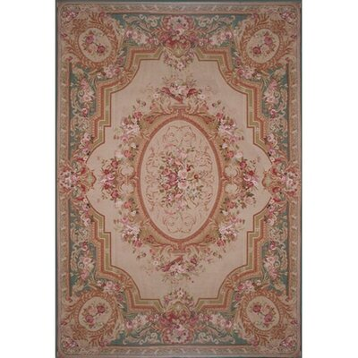 Liptak Needlepoint Aubusson Hand Woven Wool Beige/Teal Area Rug Rug Size: Rectangle 12' x 18'