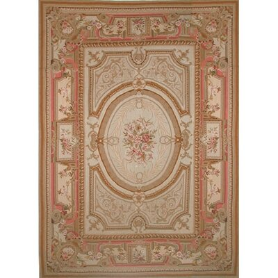 Liptak Needlepoint Aubusson Hand-Woven Wool Gold/Coral Area Rug Rug Size: Rectangle 12 x 18