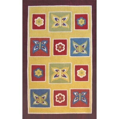 Kiddie Butterfly Area Rug Rug Size: 5 x 8