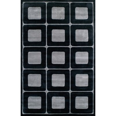 Modern Living Deco Blocks Black/Gray Rug Rug Size: 36 x 56